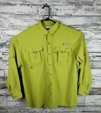 Mens Columbia PFG Omni Shade Vented Button Down Lime Green Fishing Shirt Size XL