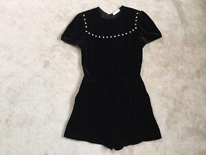 SANDRO Black Velvet Pearl Embellished Tie Back Playsuit Size FR36 UK8 Worn Once