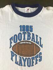 Vintage Mens 2XL 1985 Football Playoffs Thin White w/ Blue Ringer T-Shirt XXL