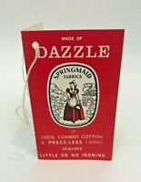 Vintage Dazzle Fabric Advertising Hang Tag Springmaid 100% Combed Cotton USA