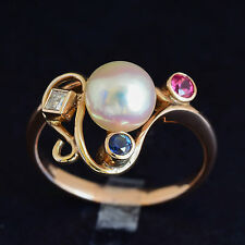 SOUTH SEA CULTURED PEARL RING 7.5mm PEARL SAPPHIRE DIAMOND 9K GOLD SIZE P NEW