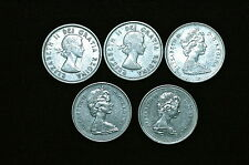 Canada 25 Cent Coins, Set of 5 Different Dates (K)