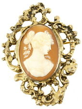 Antique Victorian Sterling Shell Dark Early Color Diana Ornate Cameo Pin 2.25""