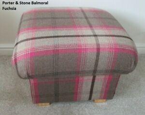 Storage Footstool Porter & Stone Balmoral Fuchsia Fabric Pouffe Footstall Pink