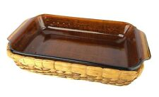 Anchor Hocking Amber Glass Rectangular Baking Dish with Basket 1.5 Quart