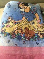 Vintage Disney Pink Satin Trim Blanket Snow White & The 7 Dwarfs White 70 x 86