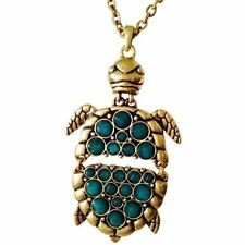 LUCKY BRAND Gold-Tone Green Jade Stone Turtle LARGE Pendant Necklace $49 NWT