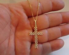 DESIGNER CROSS 925 STERLING SILVER LADIES NECKLACE PENDANT W/ 1 cts DIAMONDS