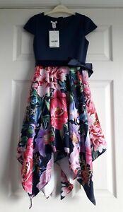 NEW Monsoon Party Perfect - Navy & Flower Print Hanky Hem Dress - Age 9 years