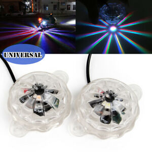 2PCS LED Universal Colorful Light Motorcycle Underglow Car Body Atmosphere Light