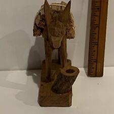 """unbrande Wooden Figurine Donkey Cargo 5 1/2"""" x 3 3/4',"""
