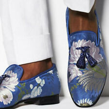 Mens Embroidery Floral Round Toe Flats Moccasins Driving Loafers Casual Shoes SZ