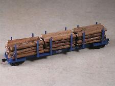 N Scale Custom realistic real wood log loads for Micro Trains Log Car. Type #3
