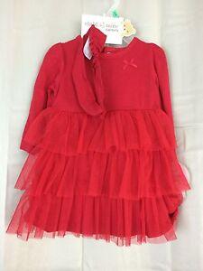Valentine infant Girls 3 pc dress set 3/6 Months poly/nylon RED dress headband