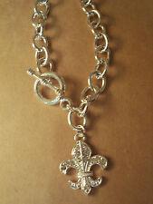 "Womans Necklace Fleur-de-lis  18"" Chain New Genuine Crystal Silver In Color"