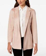 Charter Club Women's Petite Woven Faux Suede Blazer jacket Blush PL
