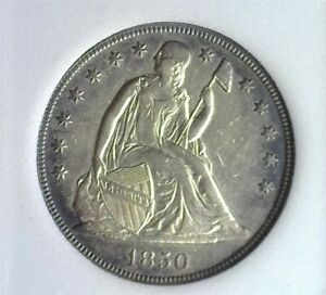 1850-O SEATED SILVER DOLLAR NEARLY UNCIRCULATED NICE TONING!! RARE THIS NICE!!