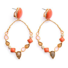 De Buman 18K Yellow Gold Plated Red Coral with Multi-colored Crystal Earrings