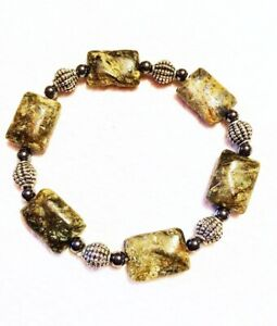 Green Rustic Jasper Stretch Bracelet Silver Charcoal Texture Spacer Beads