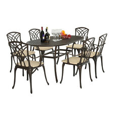 Metal Cast Aluminium 7 Piece Garden Furniture Table Chair Patio Set With Cushion