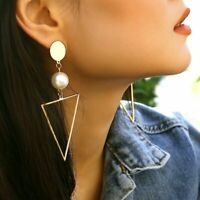 Elegant Pearl Geometric Triangle Drop Dangle Earrings Wedding Womens Jewellery