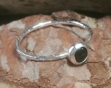 Hammered Sterling Silver and Onyx Ring Handmade. Stacking Gemstone Ring 925