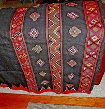 Woven Wool Kullu Pattoo Shawl Throw Blanket Black w Bright Geometric Pattern Vtg
