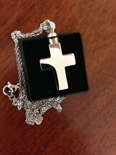 """Memorial Cremation Jewellery/Pendant/Urn/Keepsake for Ashes-Silver Cross"""""""