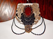 DARK CUPID LACE COLLAR red gold black choker love gothic necklace vampire EGL P5