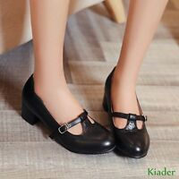 Womens Round Toe mary Jane Block Heels T-Strap Casual Fashion Shoes Plus Size