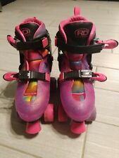 Youth Rd Roller Derby Skates Sz 3 4 5 6 Adjustable purple pink wheels rainbow