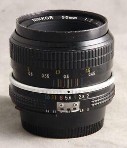 50mm f/2 Nikon AI Manual Focus Lens, Nice Glass, Loose Focus