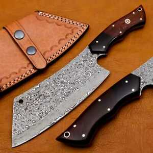 Handmade Damascus chef cleaver 256 layers With Leather Sheath Full Tang, Ck106