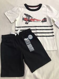 Carter's Toddler Boy Short Sleeve Airplane Tee And Shorts 3T NWT