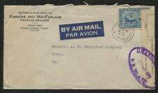Canada Censored Air mail cover Charlottetown P.E. Island postmark 1944, Scott C8