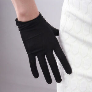 💯% Silk Nature Stretchy Satin Gloves Black Tan UV Sun Protect TECH Touchscreen