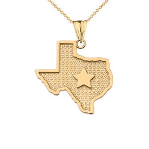 Solid Gold 10k/14K Texas Lone Star Map Silhouette Pendant Necklace