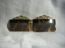 """Victorian Pair Of 2"""" Hair Combs With Beautiful 14K Gold Worked Tops"""