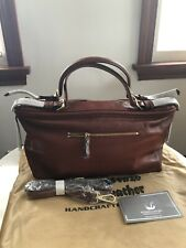 c732defb675a $299 Vicenzo Leather Ellen Top Handle Leather Handbag Satchel Tote Red Brown