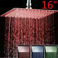 Shower Head 16-Inch LED Chrome Square Rain Sprayer Ultrathin Heads Rotate Faucet