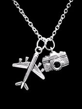 Camera Airplane Necklace Photography World Travel Christmas Gift Charm