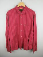 Timberland Mens Shirt Size 2XL Long Sleeve Button Up Regular Fit Red Striped