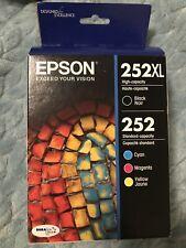 4-PACK Epson GENUINE 252XL Black & 252 Color Ink Exp. 02/2023