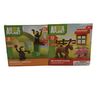 New Jr Building Blocks Animal Planet Set Of 2 My First Farm & Monkey Jungle