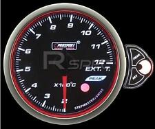 Prosport 52mm Smoked Stepper Motor Gauge Exhaust Gas Temp EGT White Blue Amber