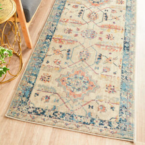 ATHENA FADED BEIGE TRADITIONAL FLORAL DESIGN MODERN RUG RUNNER 2 Sizes **NEW**