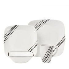 CORELLE Squares Simple Sketch 16 Pc Set Dinnerware Kitchen Dishes Square Plates