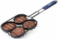 "Corona Hamburger BBQ Grill Rack Cooks 4 Burgers – 18"" Handle With Locking Latch"