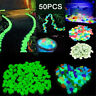 50/100Pcs Glow In The Dark Pebble Stones Luminous Garden Walkway Flower Bed