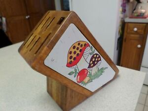 MERRY MUSHROOM National Silver Co Philippines Wood Wooden Knife Block -No Knives